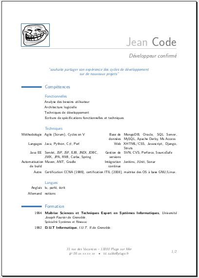 CV de Jean Code