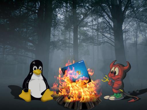 Tux et BSD grillent XP